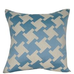 Loom and Mill Modern Houndstooth Throw Pillow ($63) ❤ liked on Polyvore featuring home, home decor, throw pillows, blue, patterned throw pillows, geometric pattern throw pillows, modern home decor, blue throw pillows and houndstooth throw pillow