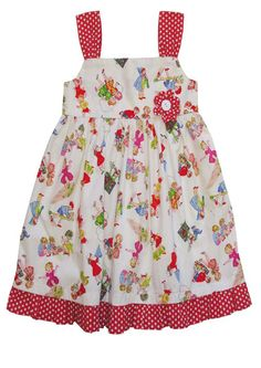 Powell craft girls at play dress available online from Loobylou's.Pure cotton with red straps & red spotty fabric flower in Powell craft girls at play fabric. Toddler Fancy Dress, Toddler Girl Dresses, Powell Craft, Cool Baby Clothes, Retro Baby, Crafts For Girls, Cute Outfits For Kids, Unique Dresses, Pretty Dresses