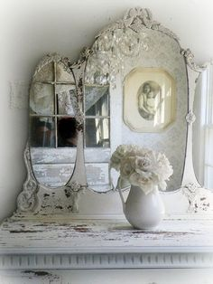 S H A B B Y White Antique Dresser with Tiara Mirror Chippy Paint Beac…