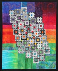 """Jane Rundle """"Black and White"""" quilt.  Churn dash blocks on a color block background.  Queensland Quilters."""