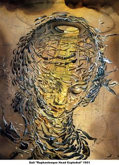 God is just another artist like me. Salvador Dalí art pic by Salvador Dali named: Tête Raphaëlesque éclatée Salvador Dali Gemälde, Salvador Dali Paintings, Pablo Picasso, Art Et Nature, Surreal Art, All Art, Great Artists, Art History, Art Quotes