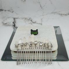 Wire and crystal raw quartz hair comb steampunk bridal