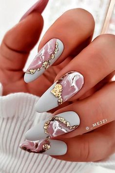 Gold Gel Nails, Foil Nails, Marble Nails, Best Acrylic Nails, Nails With Foil, Pink Nails, Long Red Nails, Foil Nail Art, Fancy Nails