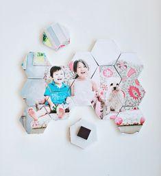 DIY hex photo puzzle magnets