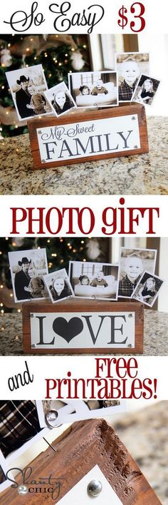 $3 Photo Block Display Gift. Display your family photos in a rustic and beautiful way with this DIY photo block project! Perfect holiday gifts for your family!