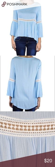 Lace Detailing Pleated Boho Top Light Blue Boho Style Top with Flared Bottom ✨Free People inspired✨                ✖️PRICE IS FIRM BUT I ACCEPT OFFERS ON BUNDLES✖️                                     ✖️NO TRADES PLEASE✖️ Free People Tops Blouses