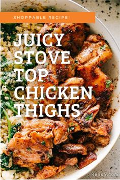 Gluten-Free | Stove top boneless chicken thighs prepared perfectly juicy and tender. Stove Top Chicken Thighs, Boneless Chicken Thighs, Dinner Bell, Gluten Free Recipes, Chicken Recipes, Dinner Recipes, Turkey, Turkey Country, Gluten Free Menu