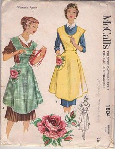 MOMSPatterns Vintage Sewing Patterns - McCall's 1804 Vintage 50's Sewing Pattern TOTALLY LUCY Retro Housewife LARGE POCKET Bib Apron Set, Button On Bib Size M NO TRANSFER