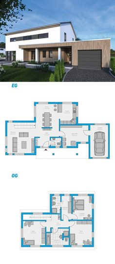 - Edita – turnkey solid house house # ingutenwalls # 2 floors E - Dream House Exterior, Dream House Plans, Modern House Plans, Modern House Design, House Floor Plans, My Dream Home, Sims 4 Houses, House Blueprints, Facade House