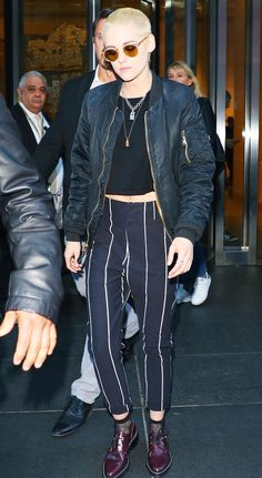 While promoting her latest film in New York, Kristen Stewart pulls a punk look together with a $15 basic.