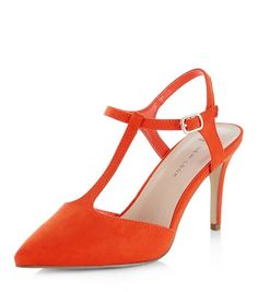 Wide Fit Orange Suedette T-Bar Pointed Heels    New Look