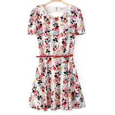 Cropped floral printing dresses pastoral belt ND-A9060