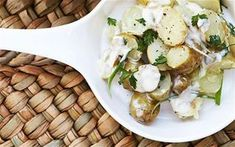 Diana Henry's ultimate potato salad recipe, made with Jersey Royals, spring onions, mayonnaise, crème fraîche and chervil Potato Salad Mayonnaise, Herbed Potato Salad, Homemade Potato Salads, Roasted Potato Salads, Best Ever Potato Salad, Best Potato Salad Recipe, Healthy Recipes, Healthy Salad Recipes, Delicious Recipes