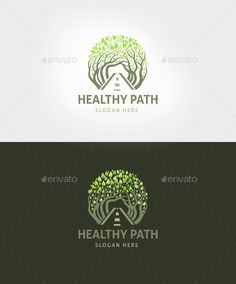 Healthy Path Logo Template, food, forest, green, landscape, leaf, leaves, organic, path, pathway, protection, road, sport, tree, under trees