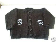 Black & Pale Blue Skulls Knitted punk goth baby cardigan