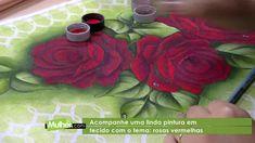 Pintura em tecido: Rosas Vermelhas por Eliana Rolim - 29/03/2017 - Mulhe...