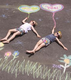 Father's Day Idea.  Outline your love for dad with a chalk heart on the driveway.