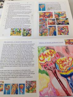 Yr 8 research work on Sarah Graham, in preparation for a still life - sweets composition