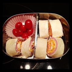 Roll ups tortilla with ham and cheese