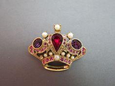 VTG 1928 Crown Brooch Designer Red Purple Glass Stones Pink Rhinestones Pearls #1928 SOLD!