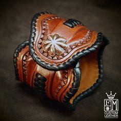 Lederen Manchet armband tooled gevlochten door MataraCustomLeather