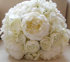 White Peony, Hydrangea and Ranunculus Bridal Bouquet with Brooch.via Etsy.