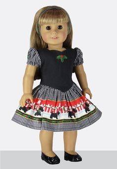 18 Doll Clothes Scotties Holiday Christmas von TeaTimeFabricPanels
