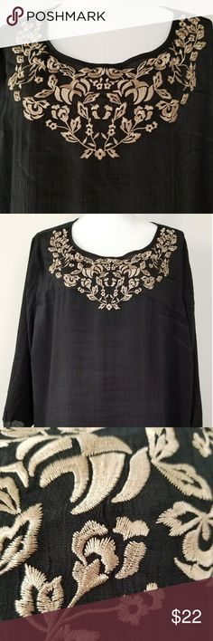 Catherine's NWT Black Gold Stitch Sheer Top SZ 2XL Catherine's Women's New with Tags. 2XL 22W/24W  Black Sheer Blouse, with gold Embellishments/decorative  stitching. Mid length sleeve. Great for work, dress up jeans or a more formal evening. Great for holiday parties. Smoke free environment and pet free environment and pet free environment. Catherine's Tops Blouses