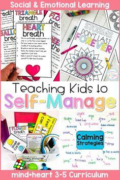 Self Management & Mindfulness - Social Emotional Learning Teaching Respect, Primary Teaching, Teaching Kids, Kids Learning, Social Emotional Development, Social Emotional Learning, Character Education Lessons, Feelings Chart, Self Regulation