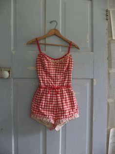 NEED! 1950s Bathing Suit Red 50s One Piece Bathing by SassySisterVintage, $94.00