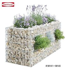 Gabion wall with planters.bougainvillea could cascade down the wall. It would provide privacy and the bougainvillea thorns would help with security.
