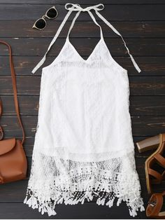 Halter Lace Fringed Backless Dress - White L - Shoproads Fringe Dress, Lace Dress, Deep V Dress, Cute Casual Dresses, Different Dresses, Backless, Summer, Fashion Dresses, Women's Fashion
