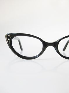 0ebad58284 1960s Black Cat Eye Glasses Eyeglasses Vintage Retro Optical Frames Vogue  USA American Made 60s Sixties