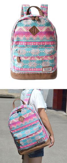 Fashion Pink Snowflake Geometry Totem Rucksack Travel Backpack Schoolbag only…