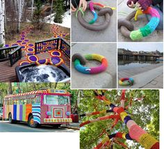Yarnbombing.  I def cant do it, but it looks pretty freakin awesome to me!