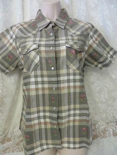BITS & BRIDLE Plaid Western Pearl Snap Shirt NEW MEDIUM  Cotton Greens #BITSBRIDDLE #Western #Casual