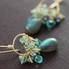 Gemstone Gold Earrings Labradorite Sapphires by aubepine on Etsy