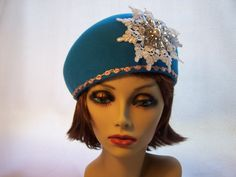 Turquoise Beret Wool Felt with Lace and Glass Beaded Medallion $75.00 #thecraftstar #handmade