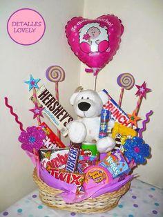 Arreglo de dulces + detalle contiene mas de 15 dulces decoracion detalle incluido + globo