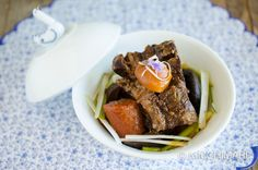 Instant Pot Short Ribs recipe for Korean Galbi Jjim. Perfectly cooked beef short ribs with shitake mushrooms, radish,carrots and chestnuts.