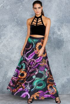 Vintage Vipers Maxi Skirt - 48HR ($120AUD) by BlackMilk Clothing