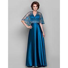 barrido vaina / columna v-cuello / cepillo tren satén del estiramiento y encaje madre del vestido de la novia (466805) - USD $ 179.99