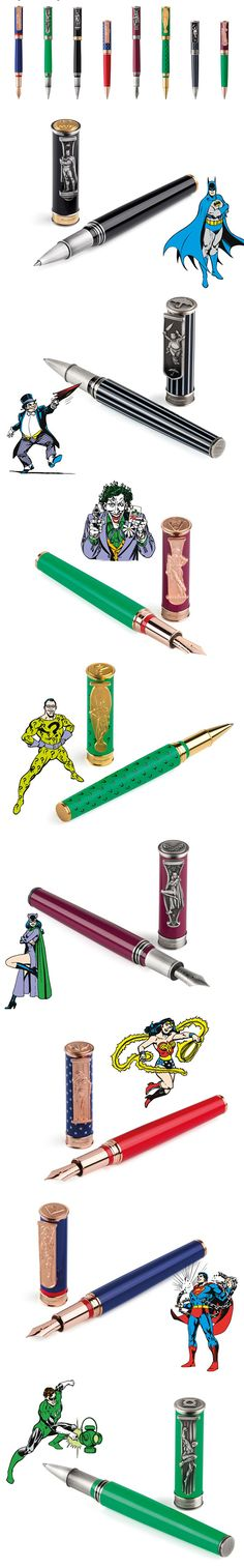 Montegrappa Unveils Elegant DC Comics-Themed Pens For Bruce Wayne Money I can't imagine it getting more right than these sexy DC Comics-themed pens by Montegrappa. The fancy superhero and supervillain designs come in ballpoint, rollerball, and fountain varieties. The barrels have bright patterns and colors, and the caps feature mini sculptures of Superman, Green Lantern, Batman, Wonder Woman, Catwoman, Riddler, Penguin, and the Joker.