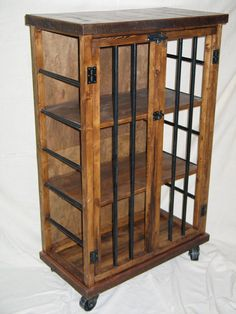 Rustic Iron And Wood Liquor Cabinet. This Unique Piece Is Crafted From Pine  And Metal