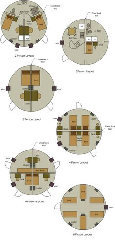 Various floor plans for the InterShelter 20ft dome