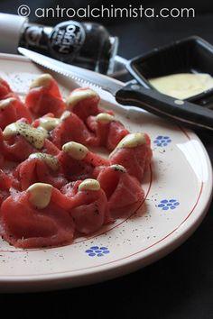 Ricetta Dukan - Carpaccio di Manzo in Salsa di Senape e Fiocchi di Sale Nero di Cipro