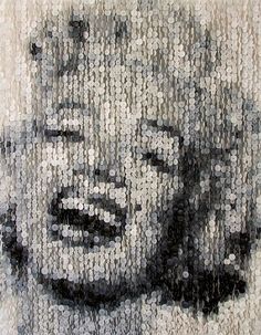 Marylin Monroe Portrait made with sewing Buttons by Augusto Esquivel