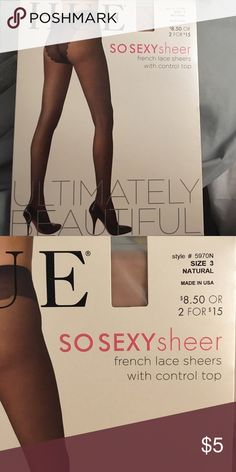 NWOT HUE Natural SO SEXY Sheer Tights French Lace Sheers With Control Top | Natural | Size 3 HUE Accessories Hosiery & Socks