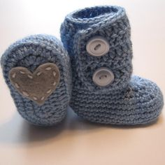 Crochet Baby Boy Valentine Boots Ankle by ThoughtfulStitches