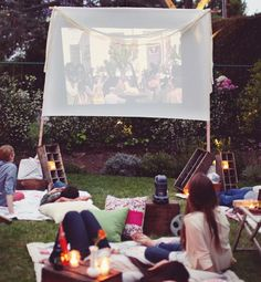 "Take your party of two to the backyard for movie night. ""Rent a screen and a projector from your local library. Then add in some beautiful throws and plush pillows. Romantic Date Night Ideas, Romantic Dates, Most Romantic, Backyard Movie Nights, Outdoor Movie Nights, Outdoor Events, Outdoor Fun, Summer Fun, Summer Nights"